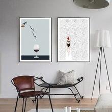 Абстрактный скандинавский постер бокал для вина холст картина