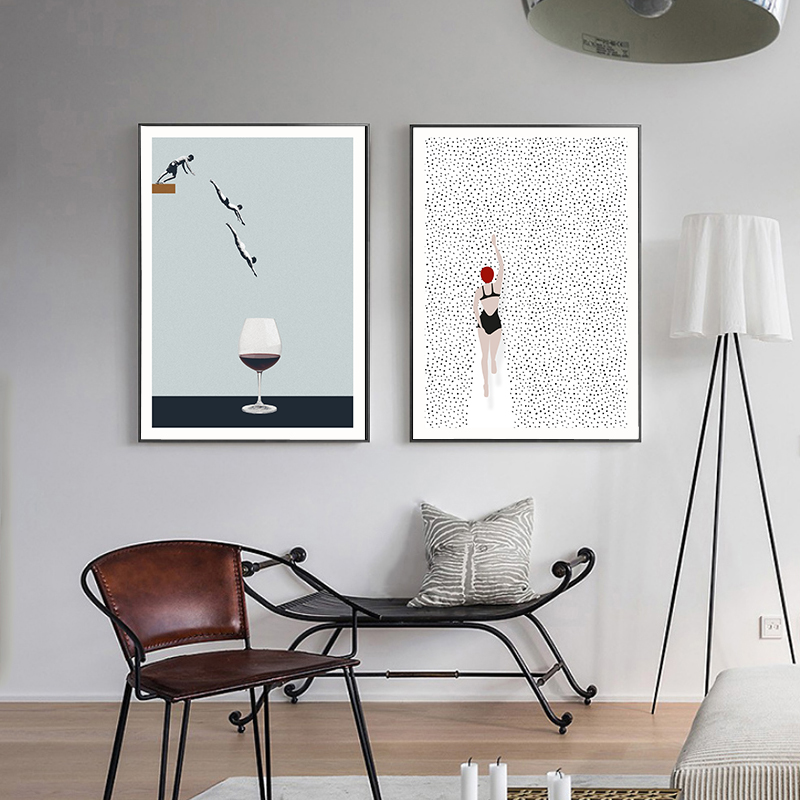 Abstract Nordic Poster Swim Wine Glass Canvas Painting Wall Art Pictures For Living Room Modern Decorative Prins On The Wall(China)
