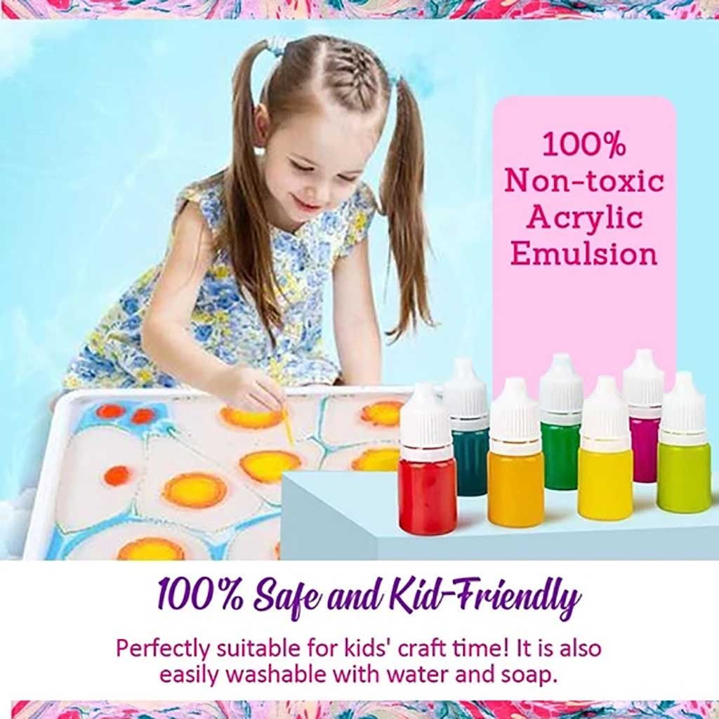Marbling Painting Kit DIY Painting on Water Creative Art Set of 6 Colors Kit Craft Girls Gift kids toys for Children #20#25|Paint By Number Paint Refills|   - AliExpress