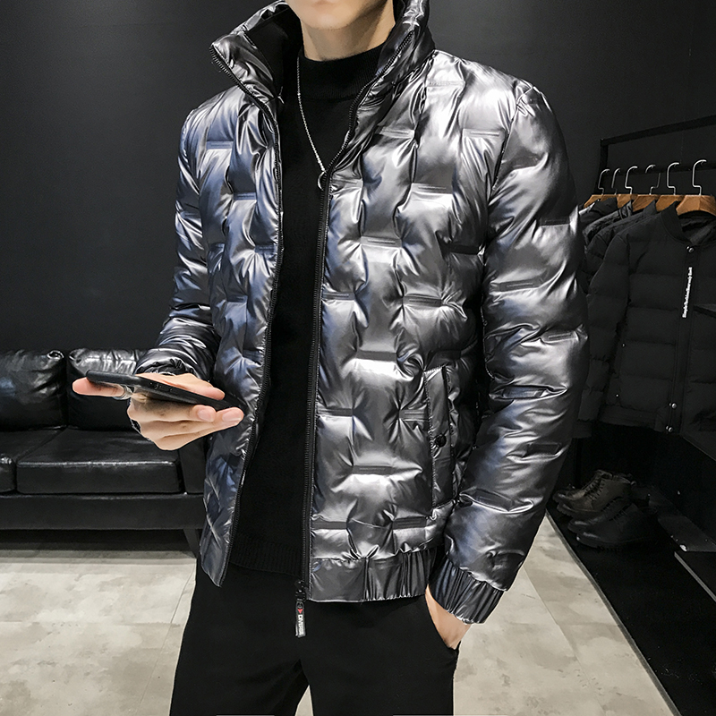 Silver Parka Mens Short Winter Jackets Mens Clothes Social Parka Bright Leather Bubble Coats Mens Puffer Jackets Bomber Jackets