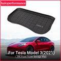 Model3 Zubehör Auto vorder trunk matte für Tesla Modell 3 2021 TPE Alle-Wetter Wasserdicht und Tragbar pad modell 3 tesla neue