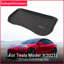 Akcesoria Model3 przednia mata do bagażnika samochodowego do modelu Tesla 3 2021 TPE wodoodporna i poręczna podkładka do noszenia Model 3 tesla nowość