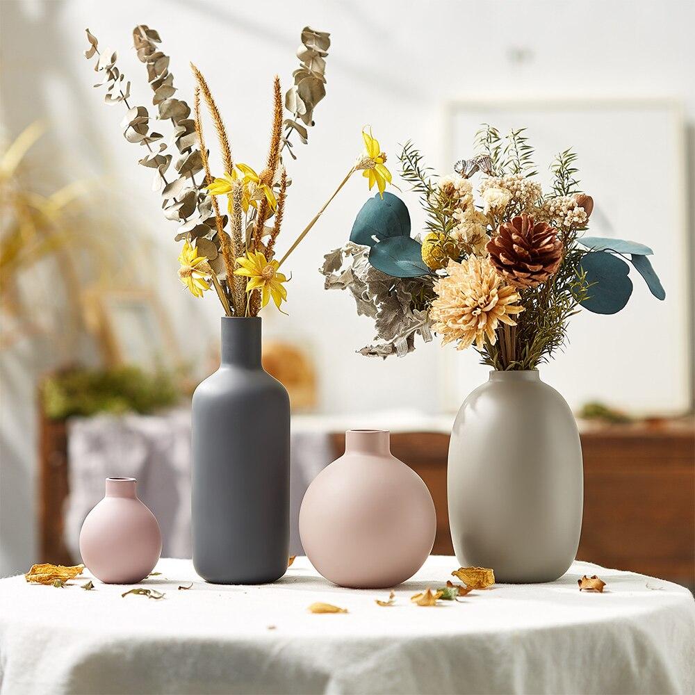 Decorative Vases Ceramic for Living Room Arrangement Crafts Gift Nordic Home Decoration Vase Morandi Simplicity Glass Home Vase