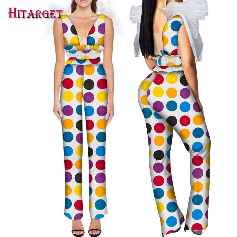 African Print Clothes For Women Yarn Decration On Shoulder African Jumpsuit Bazin Riche Cotton Romper Jumpsuit Long Pants WY6029