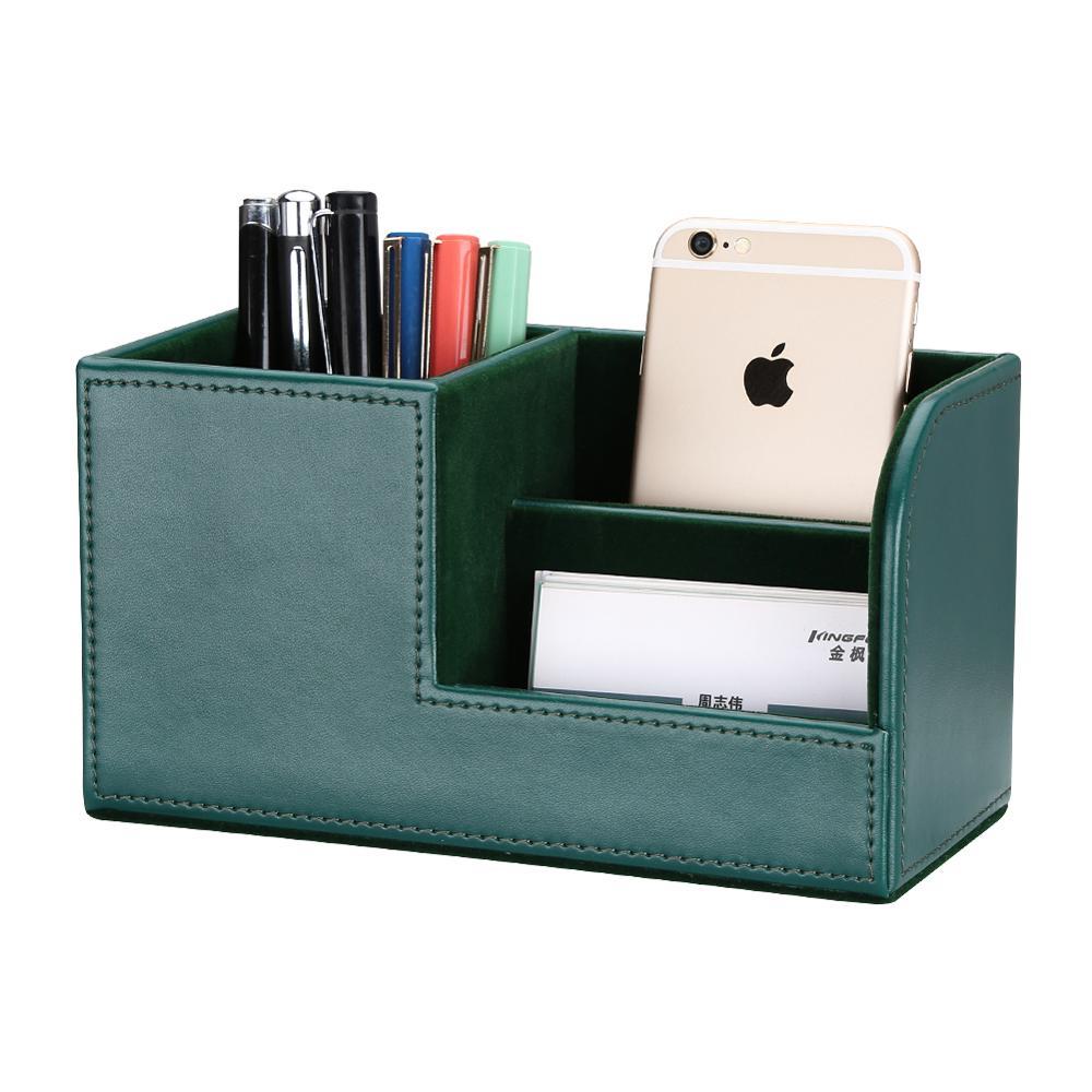Купить с кэшбэком High Grade PU Leather Desk Organizer Wooden Pen Holder Pencil Box Marble Desk Storage Box & Bin Stationery Pen Stand Containers