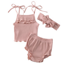 Toddler Kid Baby Girl Ruffle Set Clothes Lace Up Crop Tops High Waist Bottom Headband 3PCS Outfit Clothes Summer(China)
