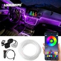 ANMINGPU-luz de ambiente decorativo para coche, iluminación RGB 5 en 1 de 6M con Control por aplicación, tira de fibra óptica LED ambiental