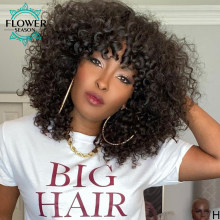 Human Hair Wig Curly for Women Indian Remy Kinky Curly Wigs With Bangs 180% O Scalp Top Full Machine Made Wig FlowerSeason