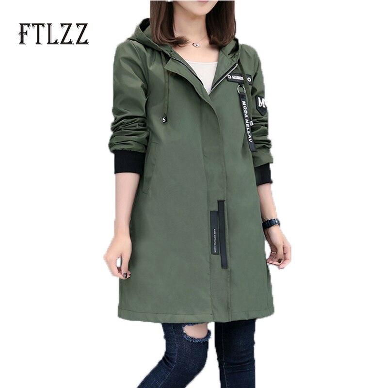2017 New Spring Autumn Trench Coat Women Causal Long Sleeve With Hood Medium Long Army Green Female Coat Casaco Feminino Coats