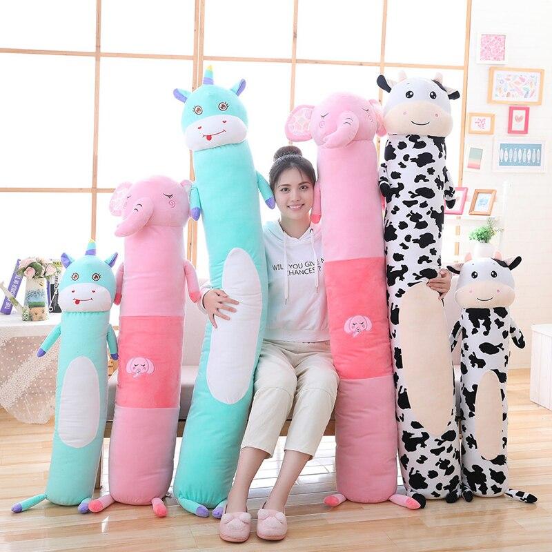 Plush Toys Animal Cow Unicorn Elephant Cute Creative Long Soft Toys Office Lunch Break Nap Sleeping Pillow Cushion Stuffed Gift