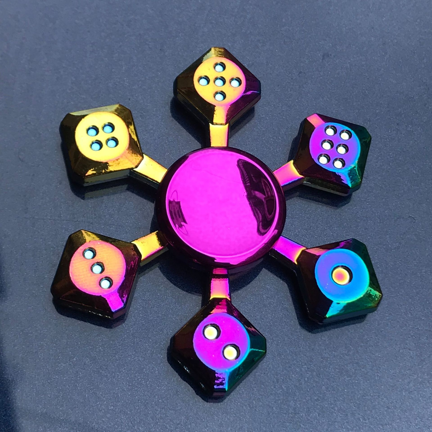 Rainbow Plating Hand Spinner Fidget Spinner Metal Finger Spiner Flower Shape Children Adult Anxiety Stress Relief Kinetic Toys