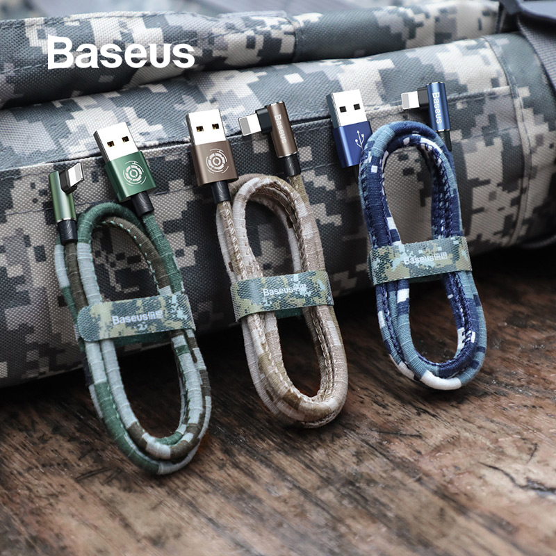 Baseus for iPhone Cable 2.4A Fast Charge Elbow USB Cable for iPhone Xs Max XR Xs X 8 Plus Data Cable Camouflage Game Chagre Cabo-in Mobile Phone Cables from Cellphones & Telecommunications on AliExpress