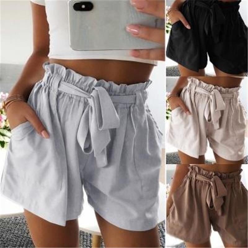 Casual Black Tie Front Ruffle Waist Paperbag Shorts Women Summer Drawstring Solid Mid Waist Shorts Streetwear Cute Shorts