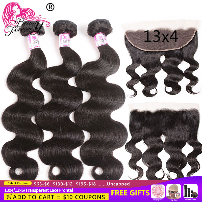 Beauty Forever Brazilian Body Wave Hair Bundles With Lace Frontal 13*4/13*6 High Ratio Transparent Lace Frontal Remy Hair