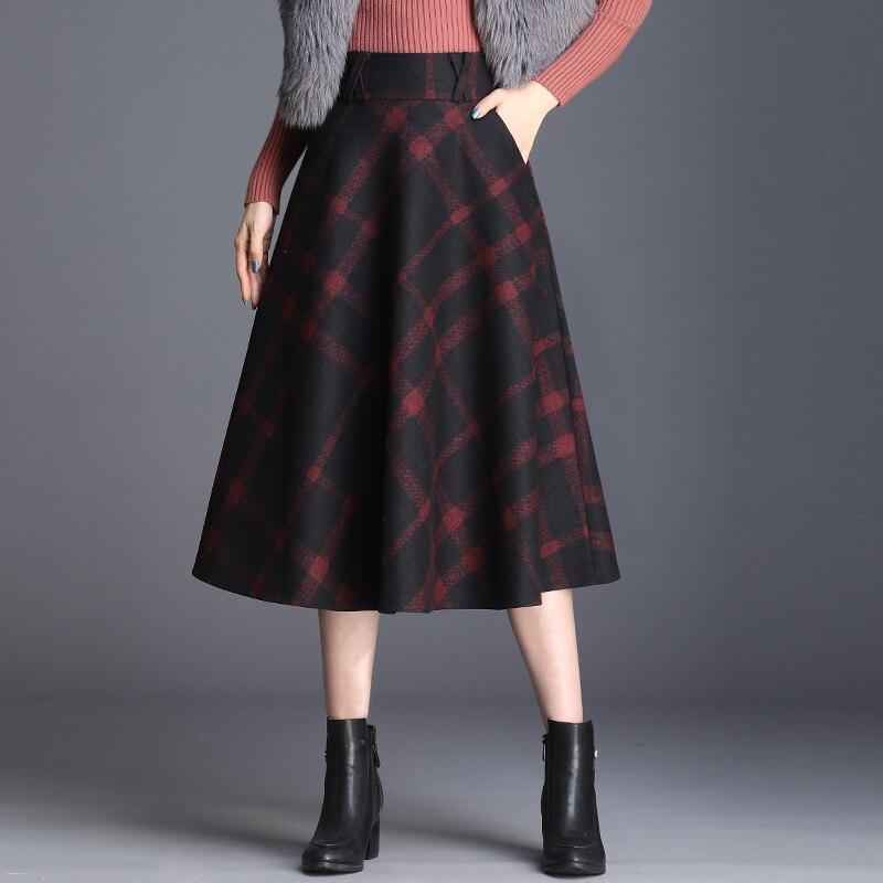 SymorHouse Woolen Skirt Women Autumn Winter  Plaid A-line Skirts Plus Size 3XL Female  Long Skirt Slim High Waist Wool Skirts