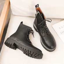 Combat Boots For Women Fashion Black Leather Ankle 2019 Autumn Platform Lace Up