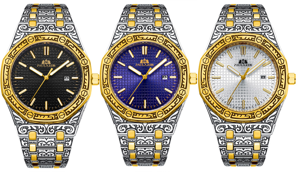 H2f3e351e373c4662aafa2f51312f600dD Men Carved Antique Vintage Luminous Rose Gold Yellow Gold Silver 2 Tones Fashion Blue Classic Quartz luxury watch
