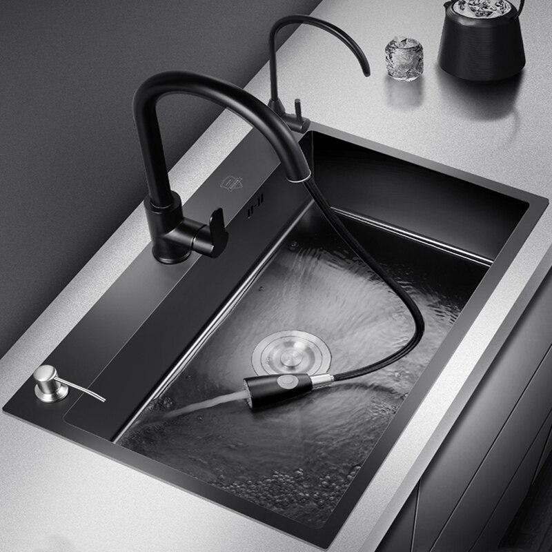 Pia da cozinha de aço inoxidável único-banho nano undercounter três furos pia com torneira preto retangular cesta pia única tigela