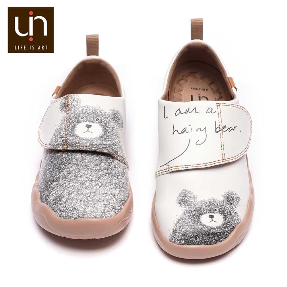 UIN Gấu Nhỏ Thiết Kế Trẻ Em Giày Thường Phân Da Trắng Giày Thể Thao Cho Bé Trai/Bé Gái Thời Trang Trẻ Em Thoải Mái Đế Bằng