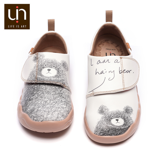 UIN Little Bear Design Kids Casual Shoes Microfiber Leather White Sneakers for Boys/Girls Fashion Shoes Children Comfort Flats
