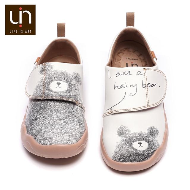 UIN דוב קטן עיצוב ילדים נעליים יומיומיות מיקרופייבר עור לבן נעלי ספורט עבור בנים/בנות אופנה נעלי ילדי נוחות דירות
