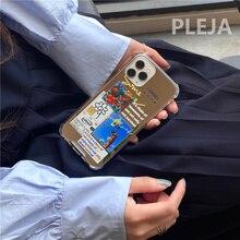 Moda etiket çiçek çizim telefon kılıfı için iphone 12 11 Pro Max 7 8 artı X XR XS Max SE 2020 sert kapak sevimli ayna kılıfları