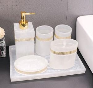 Image 2 - Luxury Nordic Rhinestone Resin Bathroom Accessories Set Tray Emulsion Bottle Hand Sanitizer Soap Dispenser  Toothbrush Holder