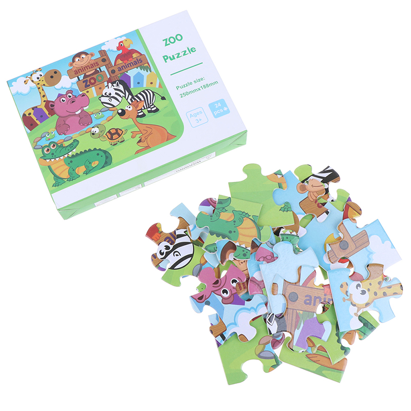 New 24 Pieces Paper Puzzle Kids Montessori Toy Cartoon Forest Animal Zoo Jigsaw Puzzle Child Early Educational Learning Baby Toy