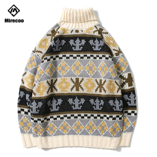 Mirecoo Men Turtleneck Sweater Retro Striped Mens Pullover Sweaters Turtle Neck Harajuku Knitted 2019 Winter Couple