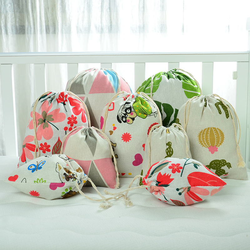 Reusable Drawstring Pouch Linen Cloth Pocket Gift Packaging Storage Bag