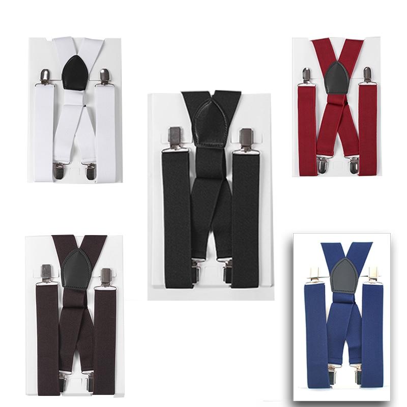 Men's Shirt Suspenders For Trousers Pants Holder Braces Wedding Suspender Straps 35mm Wide Elastic Strong  Metal Clips