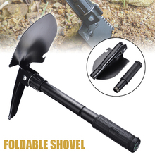 Black Folding Shovel Portable Compact Fishing Camping Gardening Emergency Tool