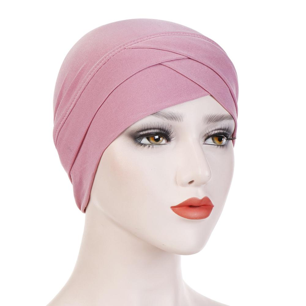 Women Stretchy Turban Hat Cross Head Wrap Cotton Hijab Cap Solid Soft Headscarf New Arrival Fashion Muslim Scarf High Quality