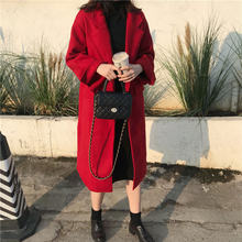 Alien Kitty 2020 Winter Red Vintage Women Woolen Coats Sweet Loose Chic Fashion Classical Casual Warm Female Fresh Long Coat(China)