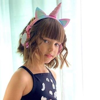 Cartoon Unicorn Wired Headphone Girls Daughter Music Stereo Earphone Computer Phone Headset Kids Gift Cute Unicorn With Mic 5
