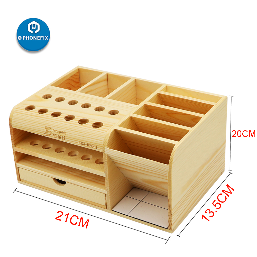 Multi-Functional Wooden Storage Box Screwdriver Set Electronic Tools Container For Tweezers Screws Scrapers Motherboards Storage