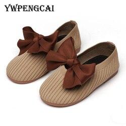Ywpengcai grande bowtie plana crianças sapatos de dança tamanho 21-35 da criança menina sapatos de malha mocassins meninas sapatos