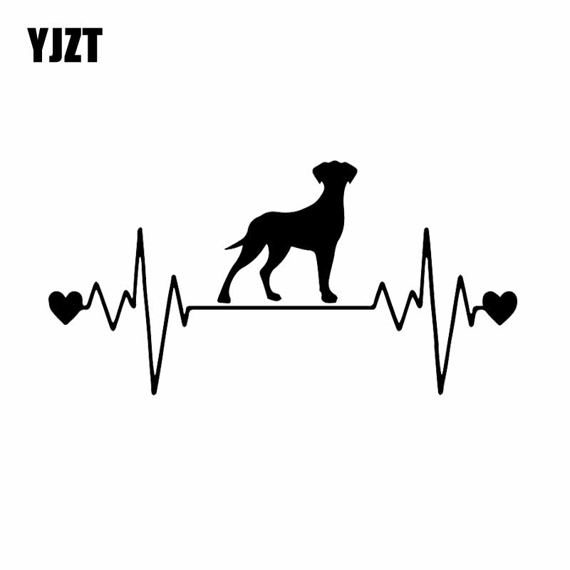 YJZT 17.5X8.8CM Car Sticker Great Dane Uncropped Lifeline Heartbeat Dog Vinyl Decal Black/Silver C24-1321