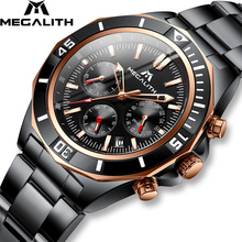 MEGALITH Men Watches Top Brand Waterproof Sport Chronograph Watch Clock Fashion Black Stainless Steel Quartz For Man 8206