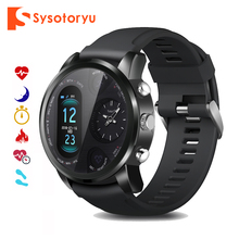 Sysotoryu t3pro relógio inteligente duplo fuso horário esporte masculino à prova dwaterproof água smartwatch freqüência cardíaca bluetooth atividade rastreador para ios android
