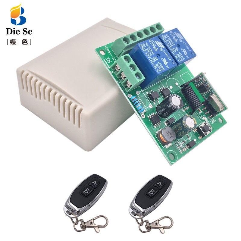 433Mhz Remote Control Switch for Light,Door, Garage Universal Remote AC 85V ~ 250V 110V 220V 2CH Relay Receiver and Controller