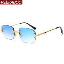 Peekaboo синие безрамные ретро солнцезащитные очки зеркальные
