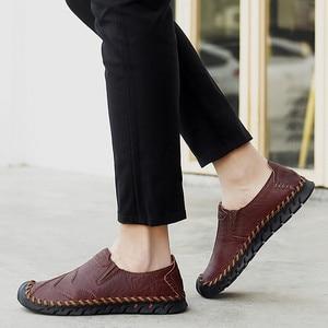 Image 4 - Chaussures pour hommes printemps et automne nouveaux hommes daffaires sans lacet cuir dâge moyen et les personnes âgées en cuir chaussures hommes papa pointure
