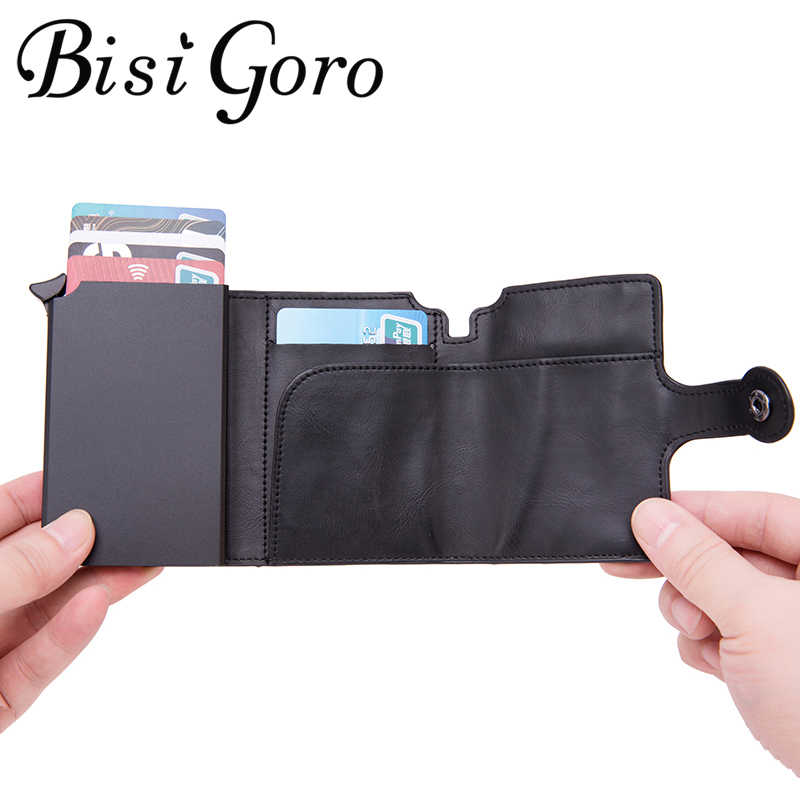 Bisi Goro 2020 Rfid Reizen Portemonnee Portemonnee Top Kwaliteit Mannen Smart Wallet Fashion Button Geld Tas Metalen Aluminium Auto pop-Up
