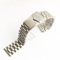 20mm 22mm Silver Stainless Steel Watch Strap Wrist Bracelet Silver Color Metal Watchband with Folding Clasp for Men Women