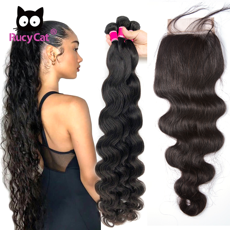Rucycat Body Wave Bundles With Closure Brazilian Hair 30 Inch Bundles 32 34 36 38 40 Inch 100% Human Hair Bundles With Closure