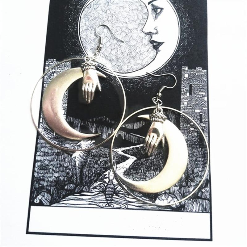 Женские серьги кольца серебряного цвета с Луной и ручным кольцом, кулон с большим полумесяцем, Волшебная Готическая богиня, классический оригинальный подарок, новинка 2019|Серьги-подвески|   | АлиЭкспресс