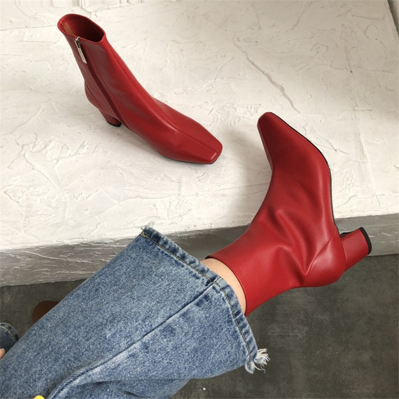 Prova Perfetto Square Toe Genuine Leather Zipper Ankle Boots Square Heel Boots Autumn Winter High Quality Zipper Red Ladies Boot