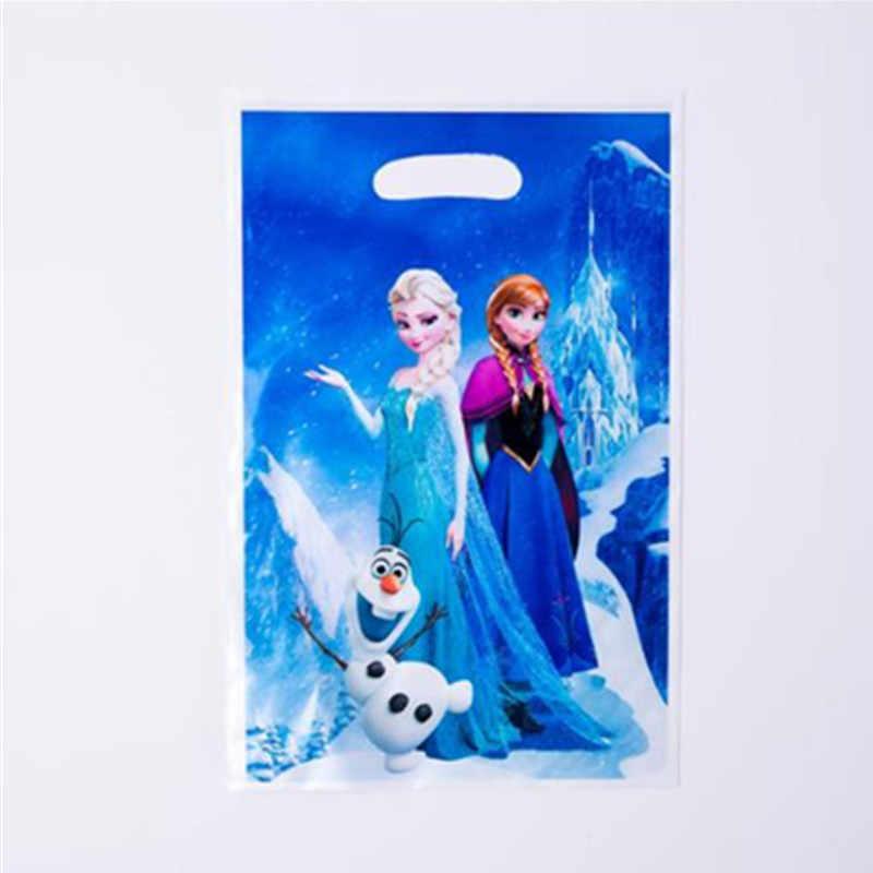 6 ชิ้น/ล็อตของขวัญกระเป๋าวันเกิด Decoretions การ์ตูนเจ้าหญิง Spiderman Unicorn Minnie Mickey Mouse Candy Bag สำหรับอาบน้ำเด็ก