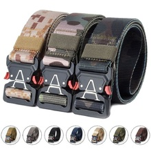 купить Men's Tactical Belt Quick-releasing Outdoor Military Hunting Training Waist Belt Nylon Pants Belt Metal Buckle 3.8CM Hang Buckle дешево